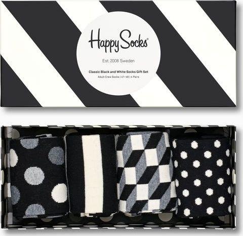 Happy Socks 4-Pack Classic Black & White Socks Gift Set Multi 9100 36-40