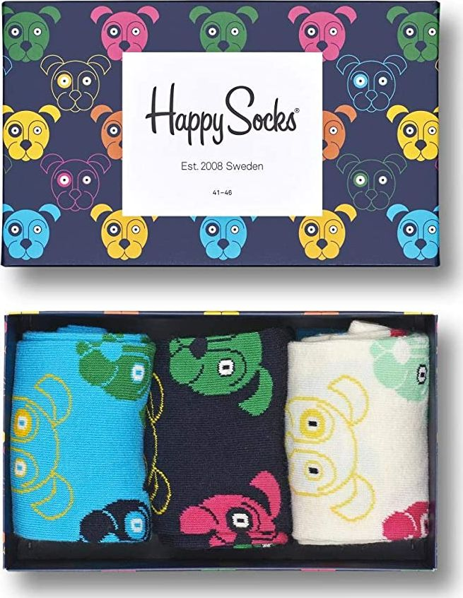 Happy Socks 3-Pack Mixed Dog Socks Gift Set Multi 0100 41-46