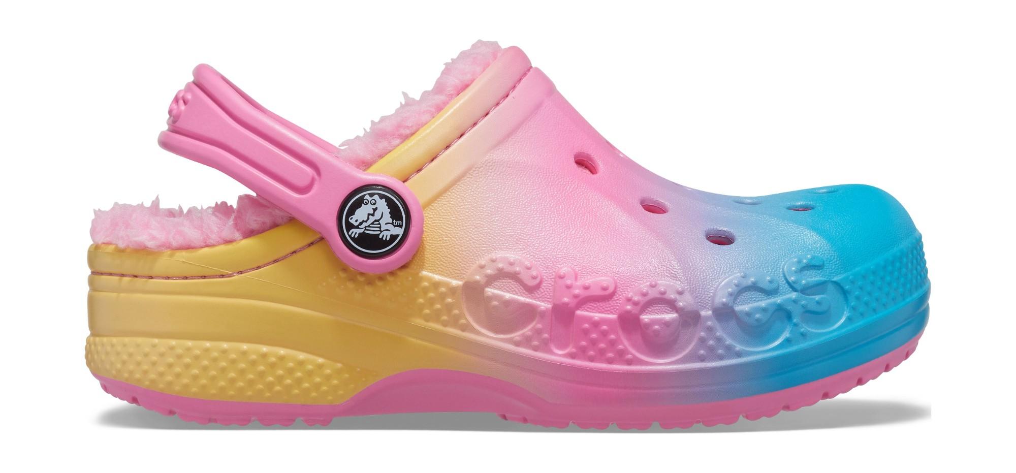 Crocs™ Baya Printed Lined Clog Kid's Pink Lemonade/Multi 24