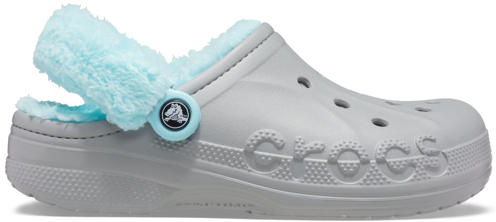 Crocs™ Baya Lined Fuzz Strap Clog Light Grey/Ice Blue 41