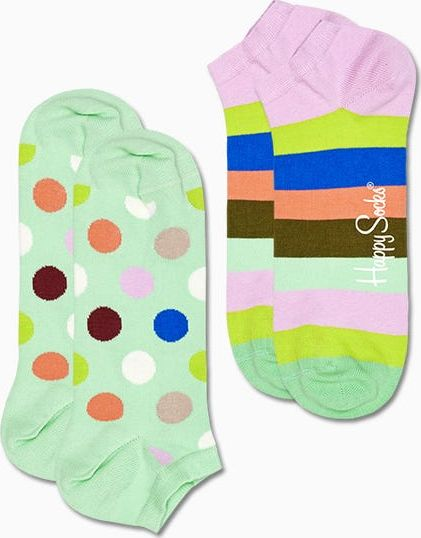 Happy Socks 2-Pack Big Dot Stripe Low Sock Multi 7000 36-40