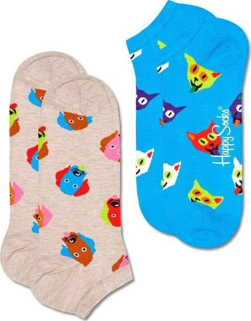 Happy Socks 2-Pack Dog & Cat Low Sock Multi 1700 41-46