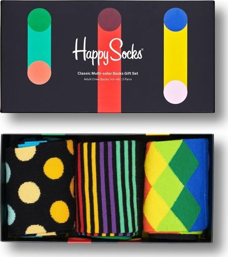Happy Socks 3-Pack Classic Multi-Color Socks Gift Set Multi 9300 41-46
