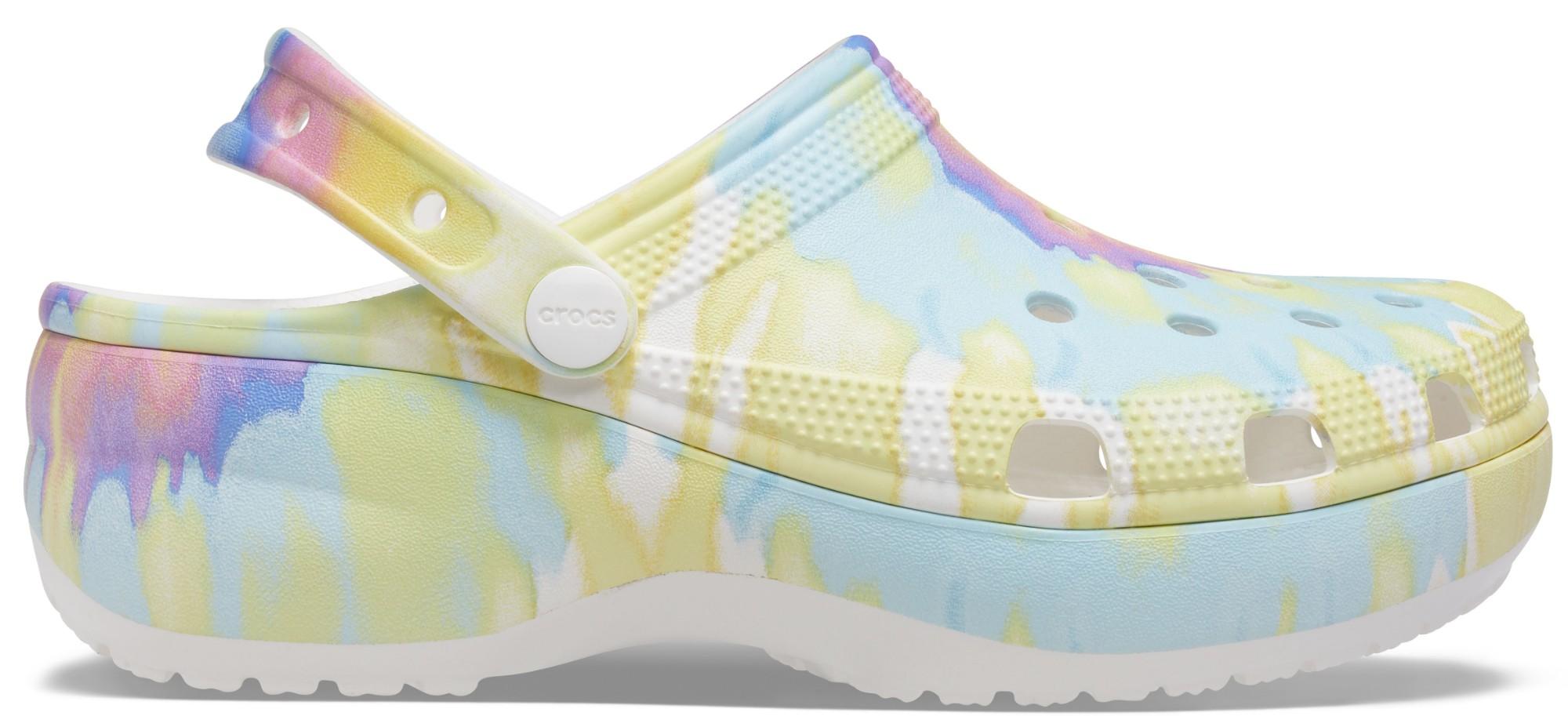 Crocs™ Classic Platform TieDye Graphic Clog Women's White/Multi 42,5