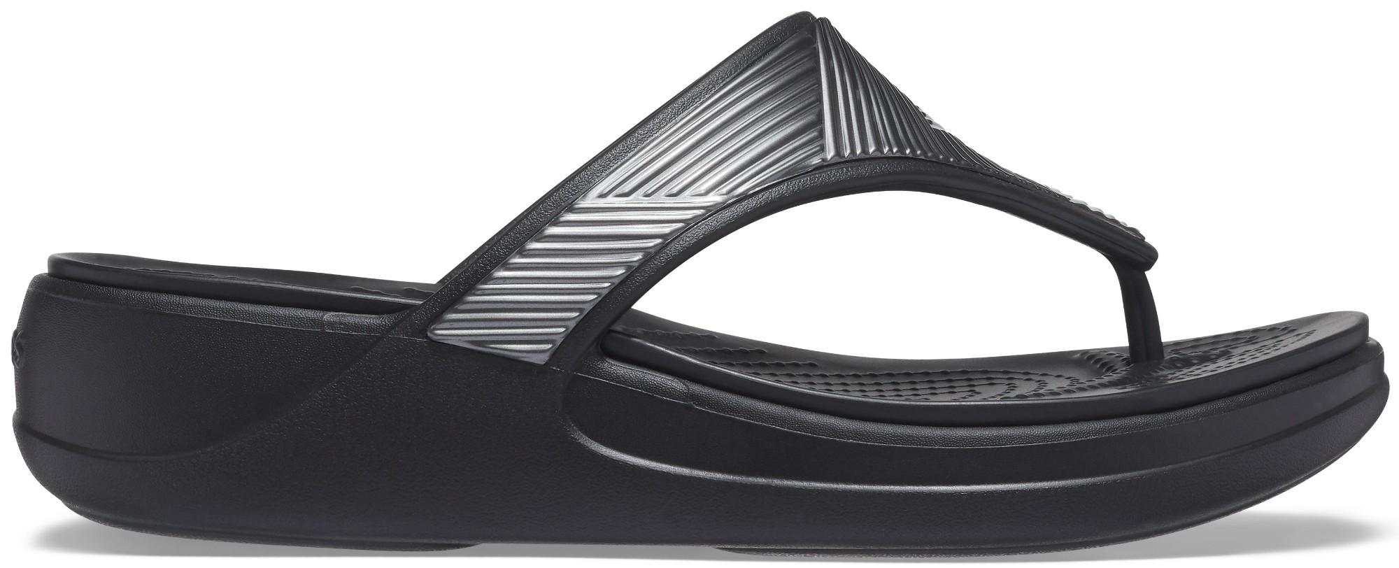 Crocs™ Monterey Metallic Wedge Flip Black 41