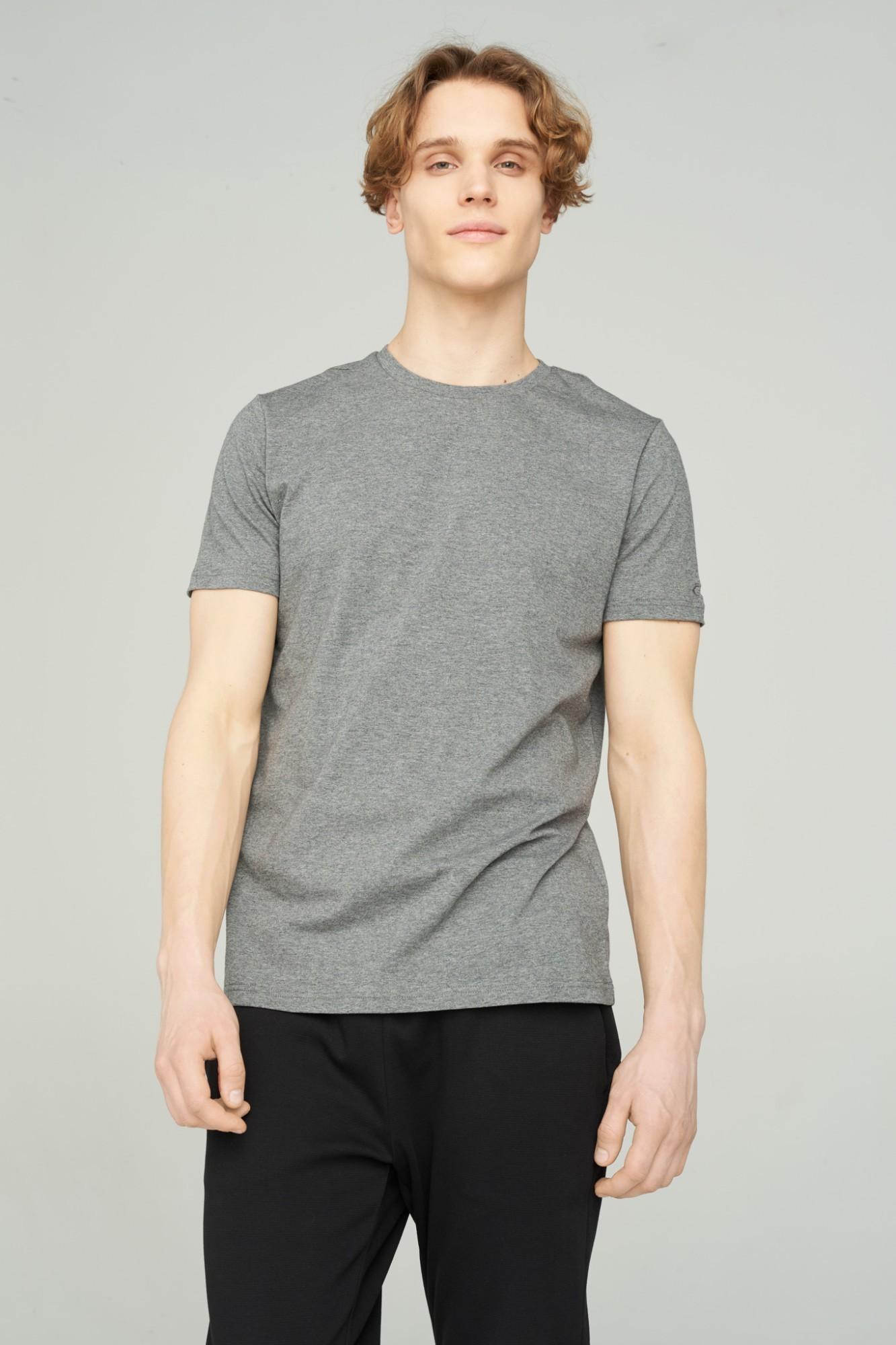 AUDIMAS Tamprūs medvilniniai marškinėliai 2011-472 Mid Grey Melange M