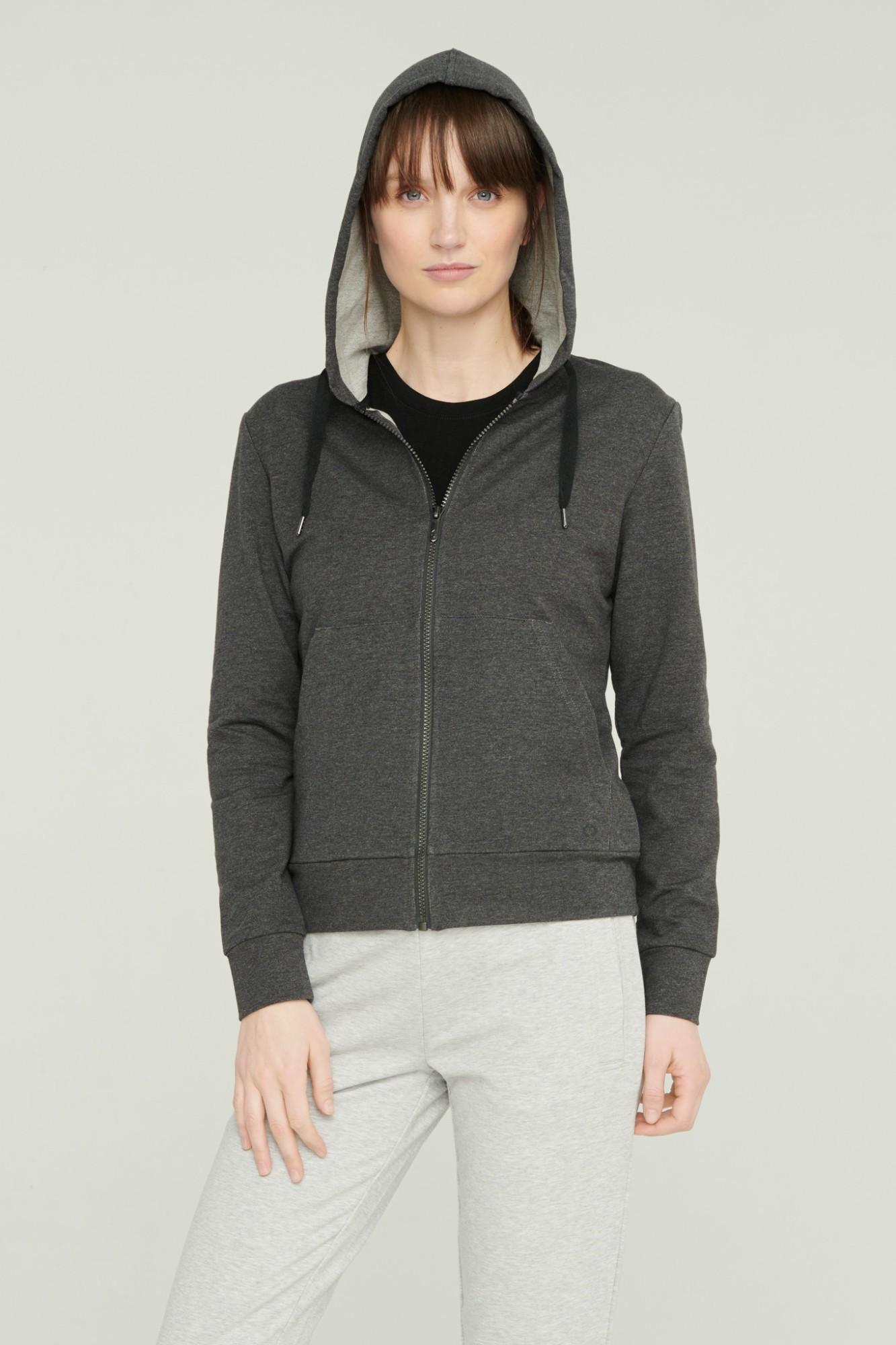 AUDIMAS Atsegamas medv. džemp. su gobtuvu 2111-062 Dark Grey Melange S