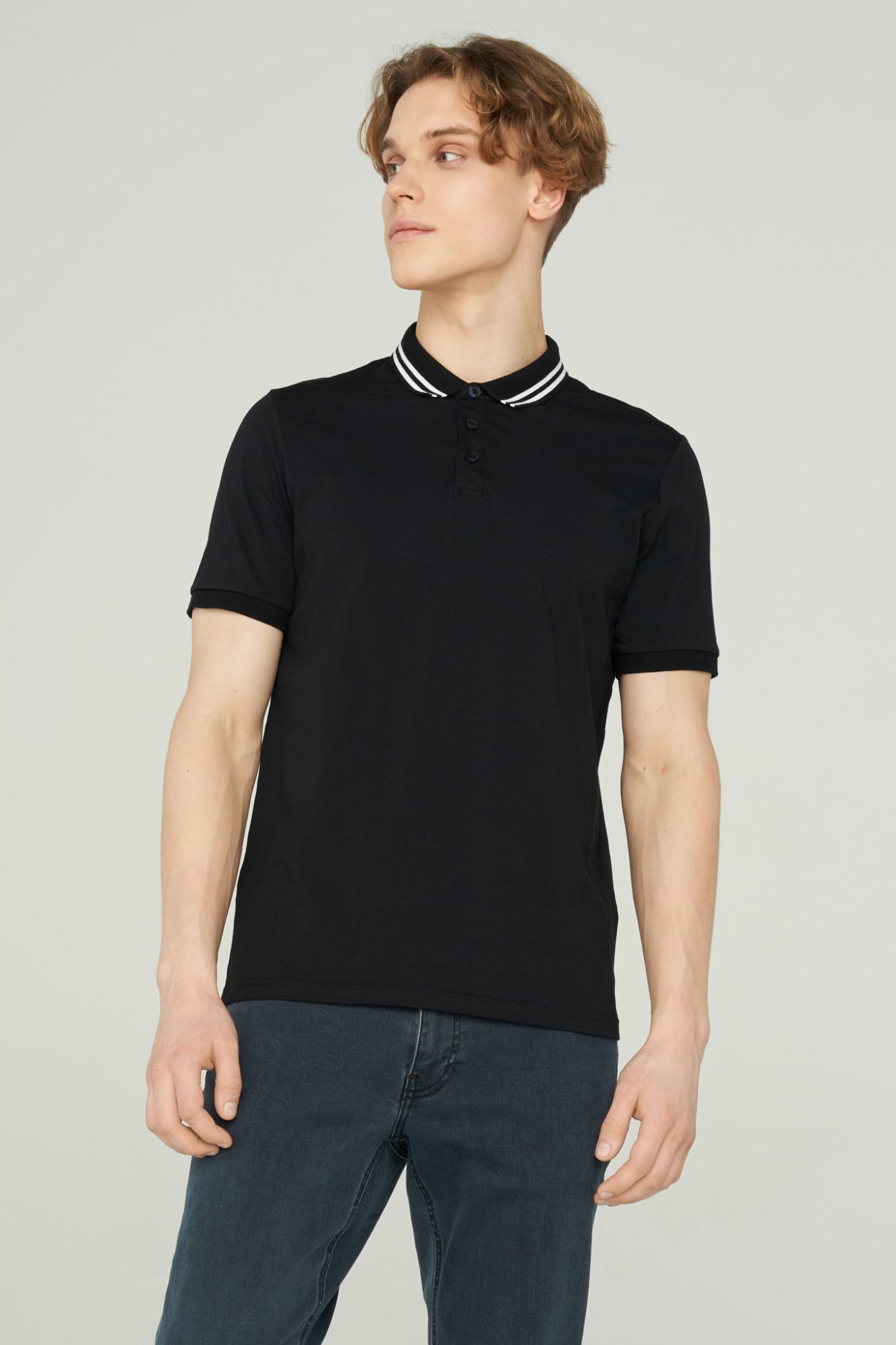 AUDIMAS Tamprūs medvil. polo marškinėliai 2111-479 Black M