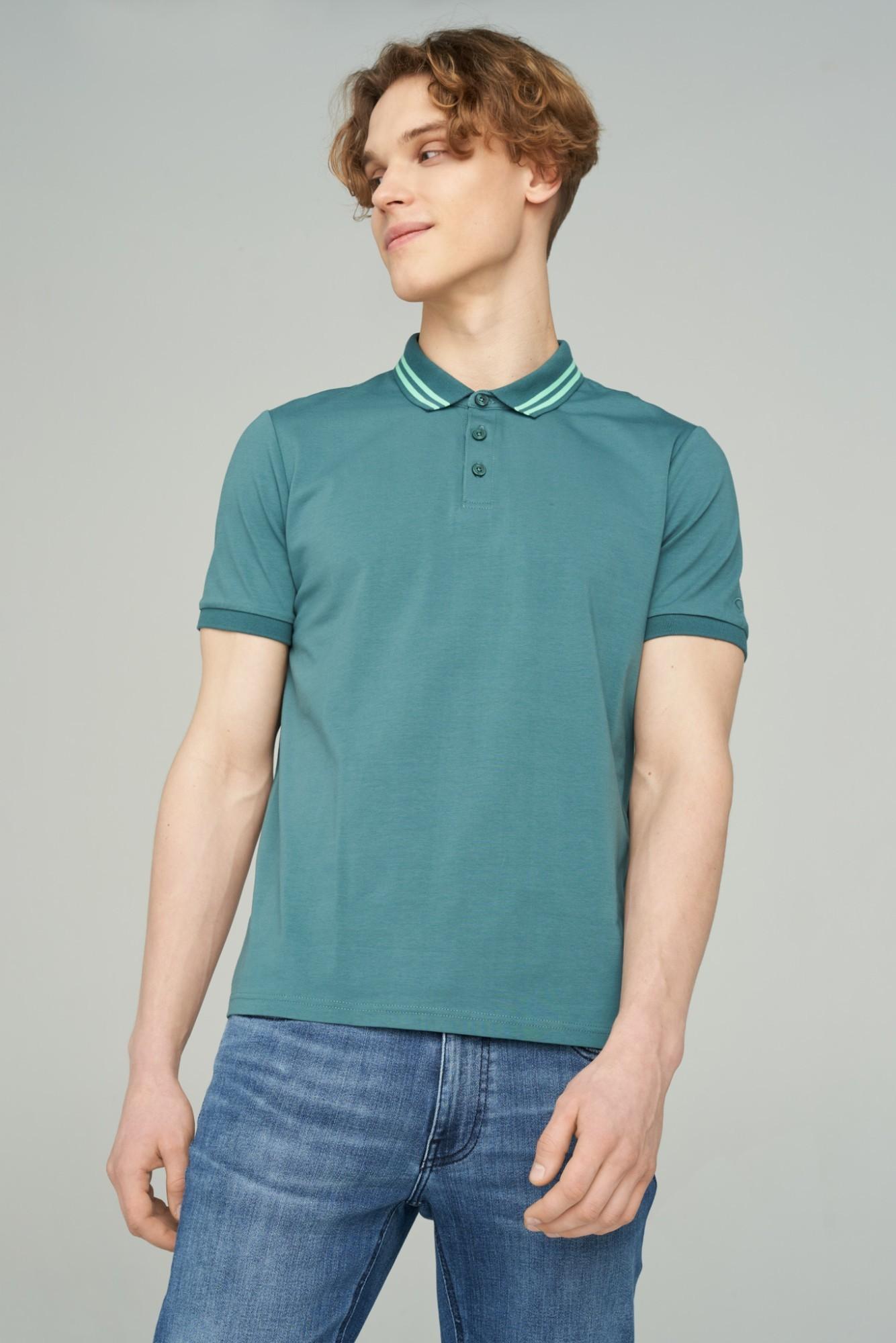 AUDIMAS Tamprūs medvil. polo marškinėliai 2111-479 Mallard Green M