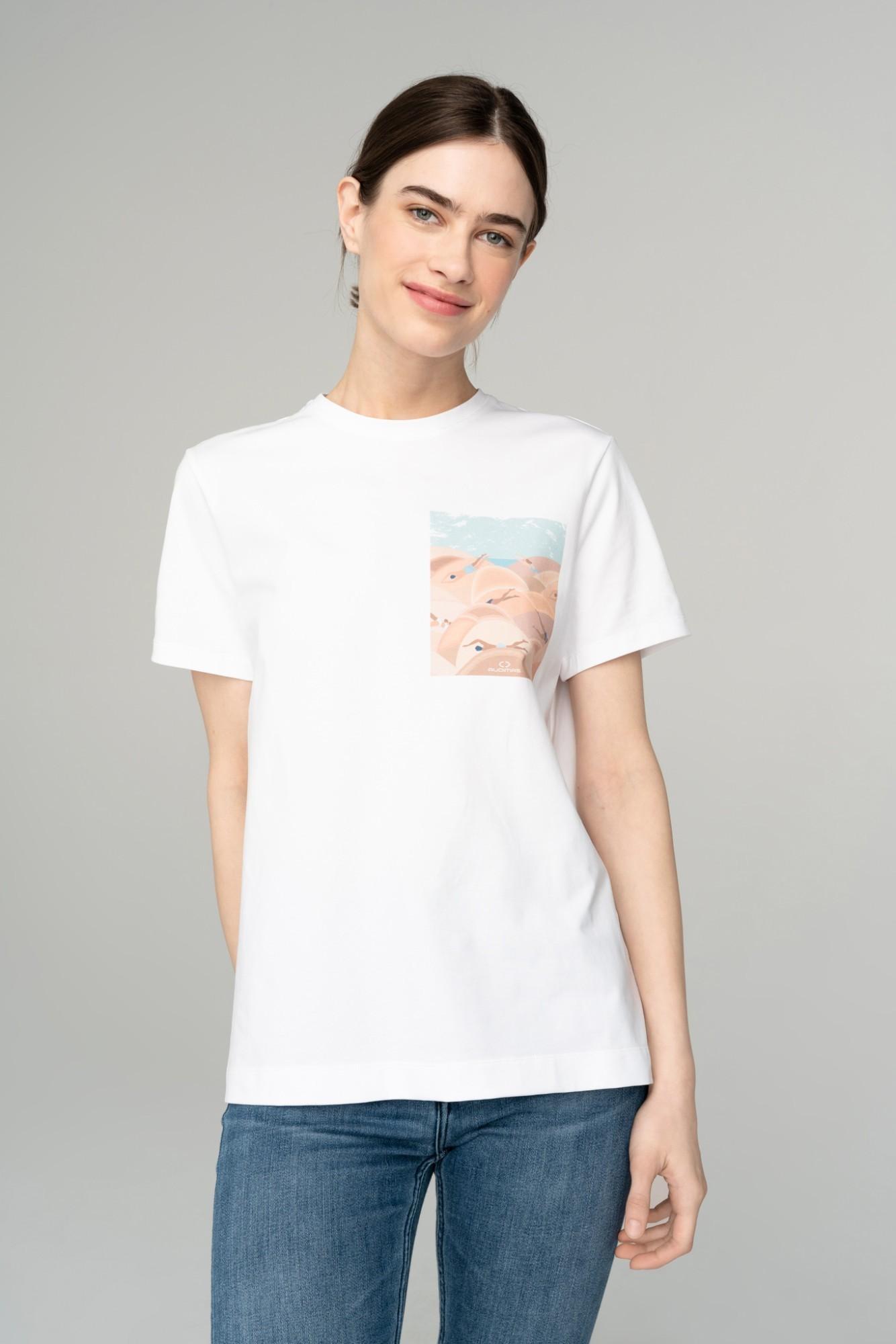 AUDIMAS Marginti medvilniniai marškinėl. 2111-252 White Printed 2 XS