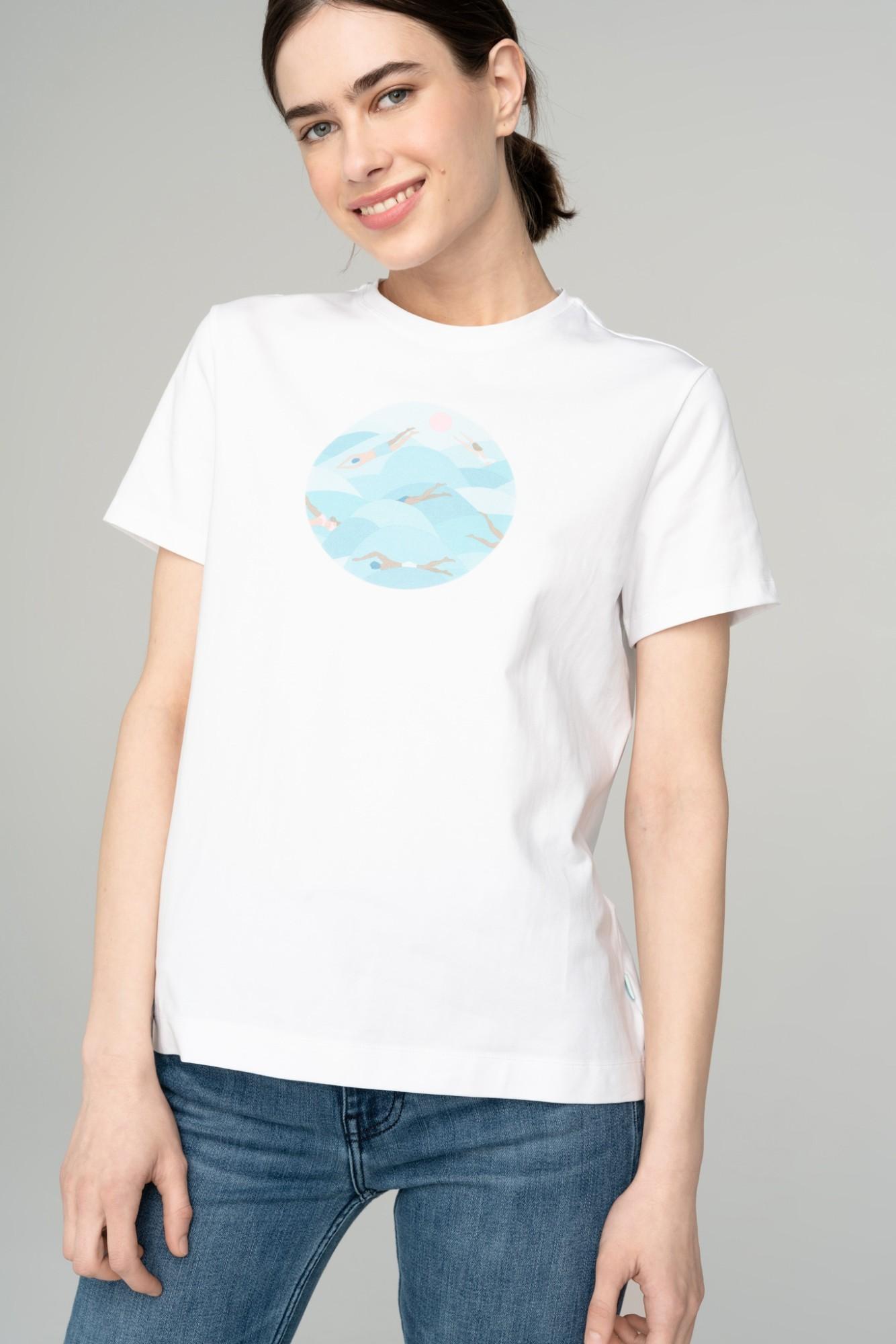 AUDIMAS Marginti medvilniniai marškinėl. 2111-252 White Printed 3 XS