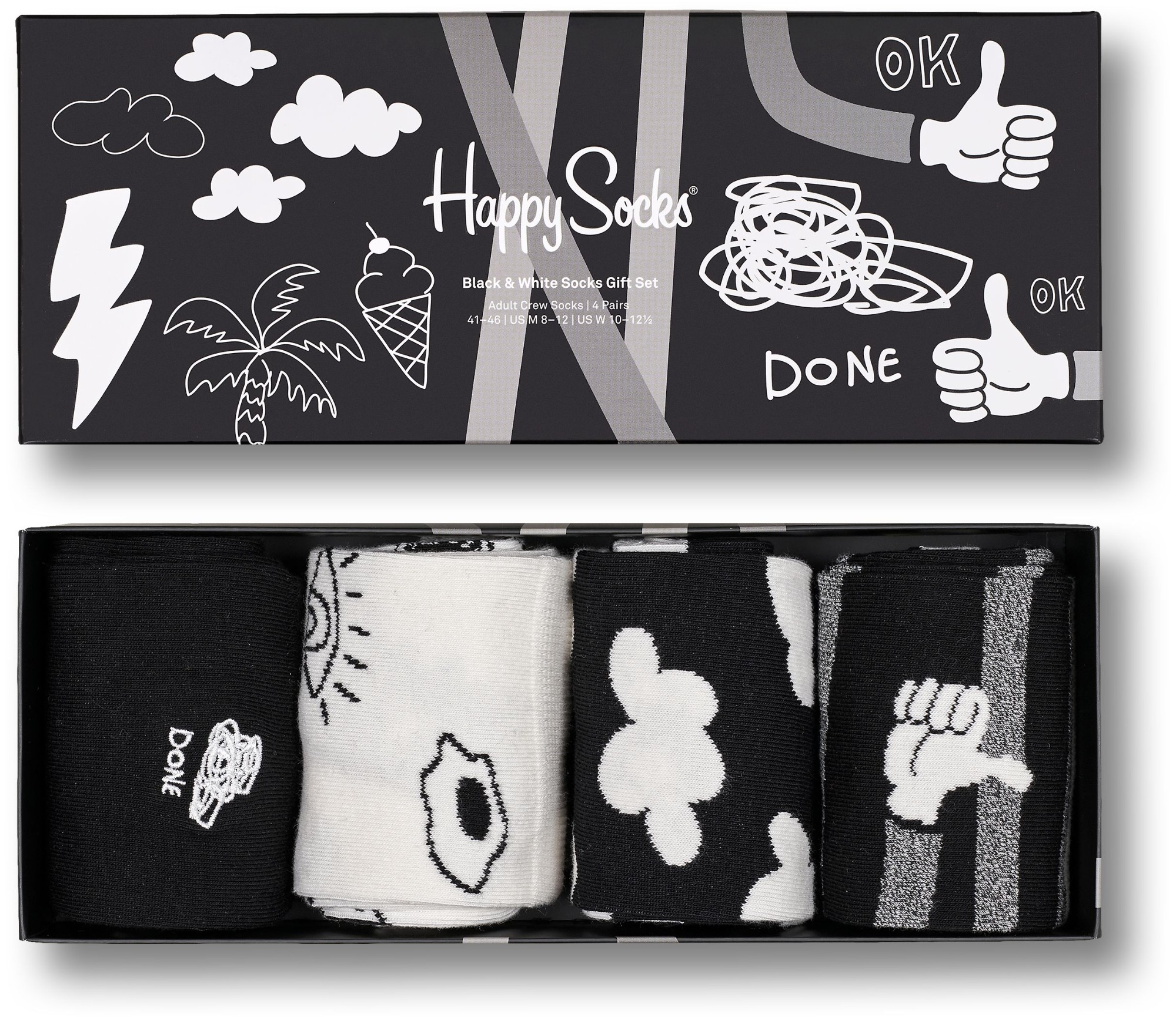 Happy Socks 4-Pack Black And Whites Gift Set Multi 9100 41-46