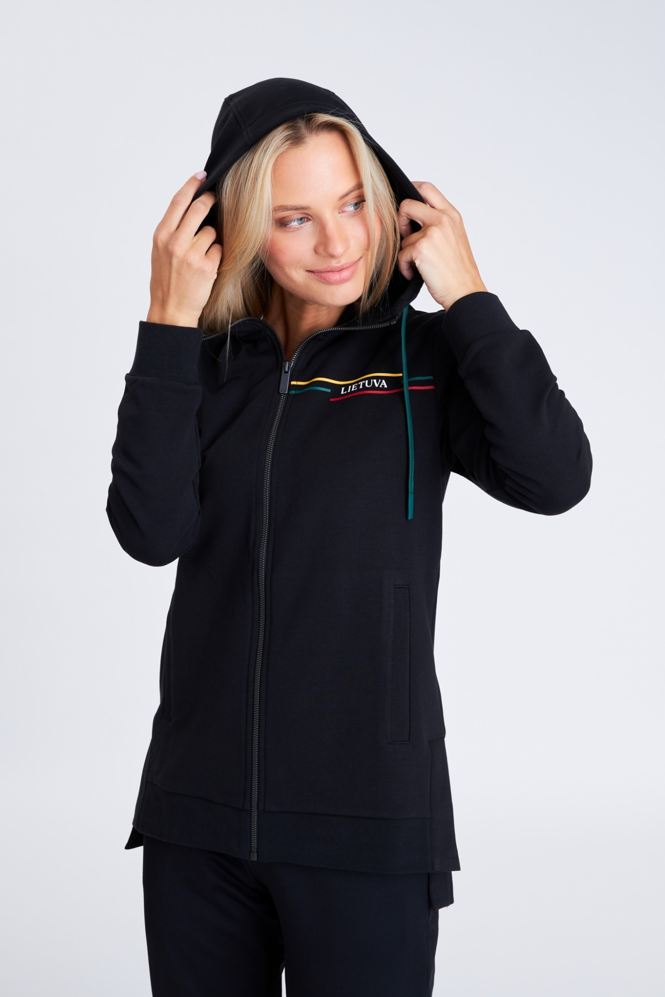 AUDIMAS Tamprus medvilninis džemperis 21LT-007 Black L