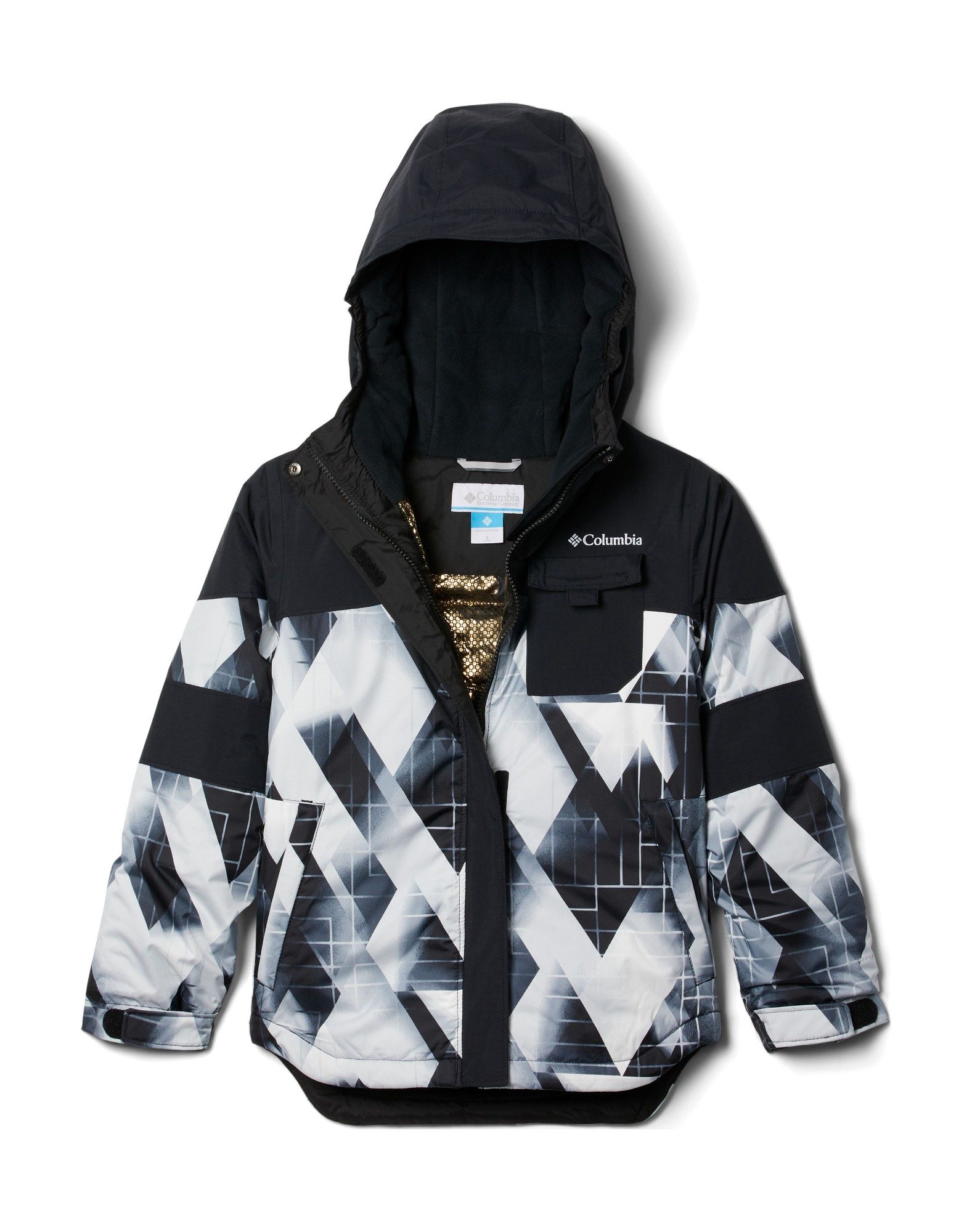 Columbia Mighty MogulII Jacket Girl's Black Geo Mt/Black 140