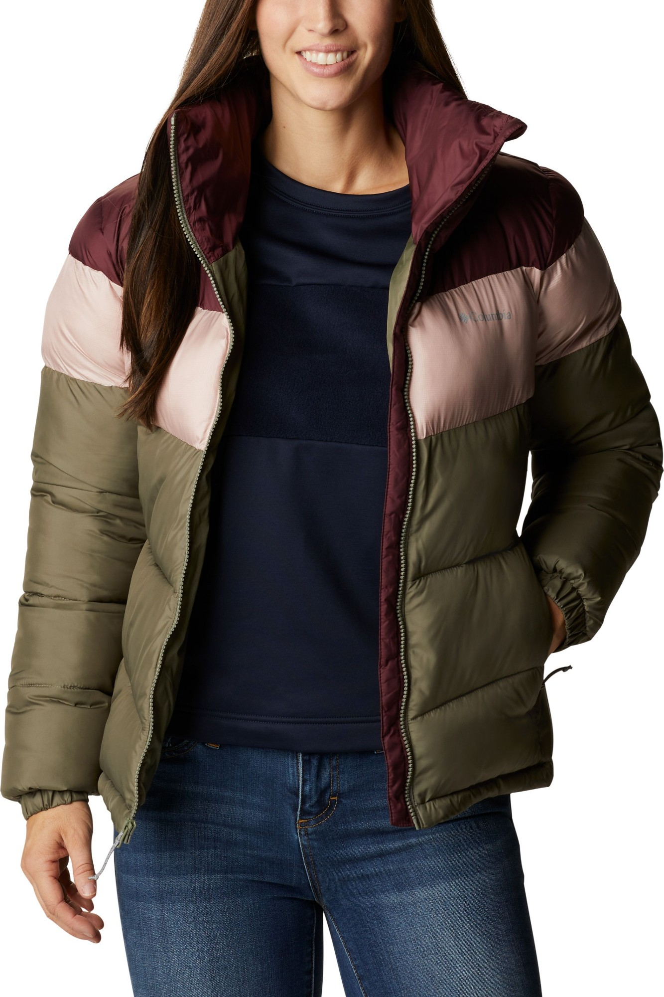 Columbia Puffect Color Blocked Jacket Women's Stone Green/Mineral Pink/Malbec M