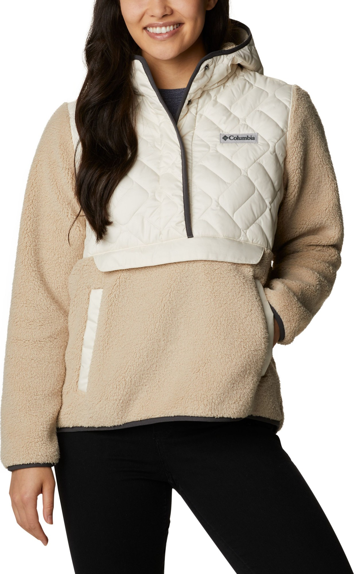 Columbia Sweet View Fleece Hooded Pullover Women's Chalk/Ancient Fossil S