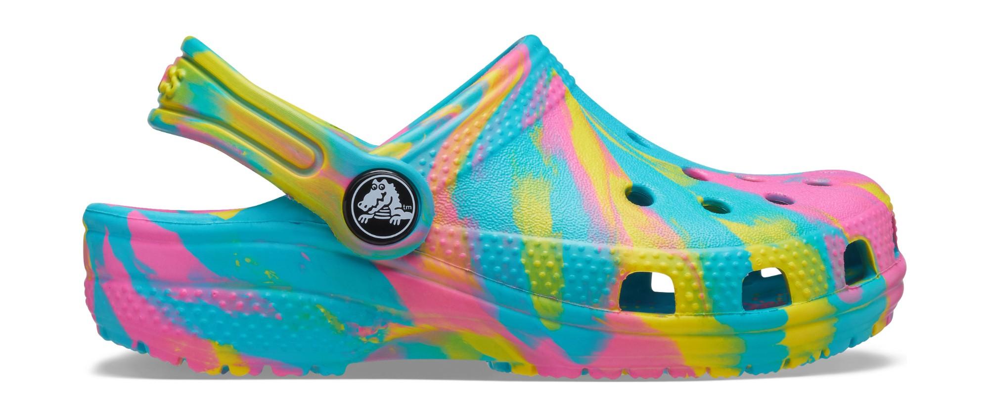 Crocs™ Classic Marbled Clog Kid's Digital Aqua/Multi 24