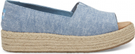 TOMS Chambray Women's Open Toe Platform Alpargata Blue